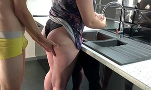 Fucked his go steady involving while washing dishes