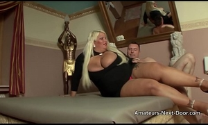Thick blonde slut with big special receives glabrous slit drilled