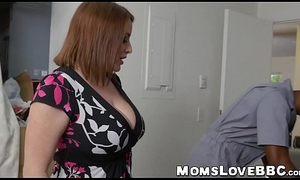 Alluring chubby MILF down big tits interracially drilled