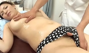 Slender Japanese babe got oiled up increased by finger fucked hard