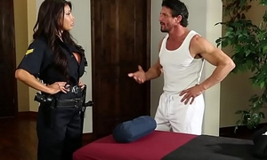 Bigtitted police lassie fucked during rub down