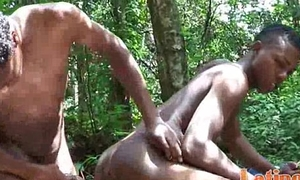 Frolicking Latin twinks strip naked in be imparted to murder woods