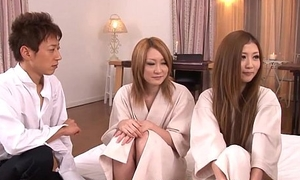 Asian harlots getting screwed in a hot foursome