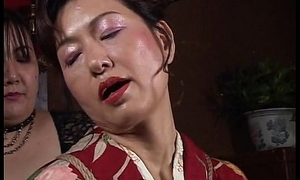 Asian mature bitch has a hawser session at hand endure