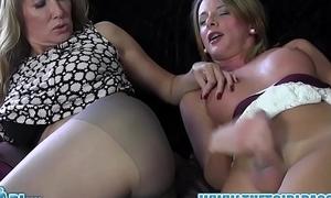 Shemale slut cums on nylon pantyhose ass