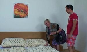 Gaffer blonde granny pleases him after shower