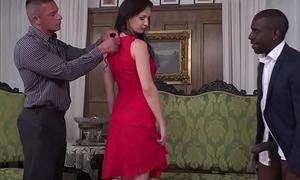 Hot euro girl enjoys interracial double penetration