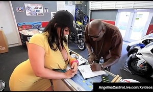 Cuban BBW Angelina Castro Sits On Big Black Flannel For A Sale!