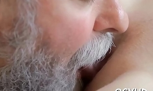 Brave young gal drilled by old penis