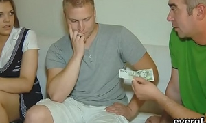 Penniless fella lets spicy buddy to ride his girlfriend for money
