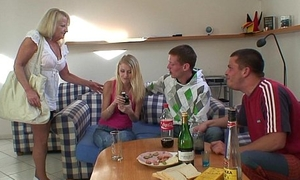 Two partying guys screw light-complexioned granny