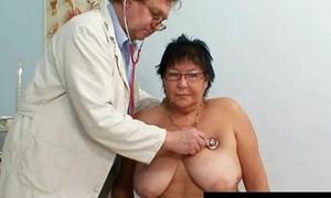Busty elder spread out gyn polyclinic exam